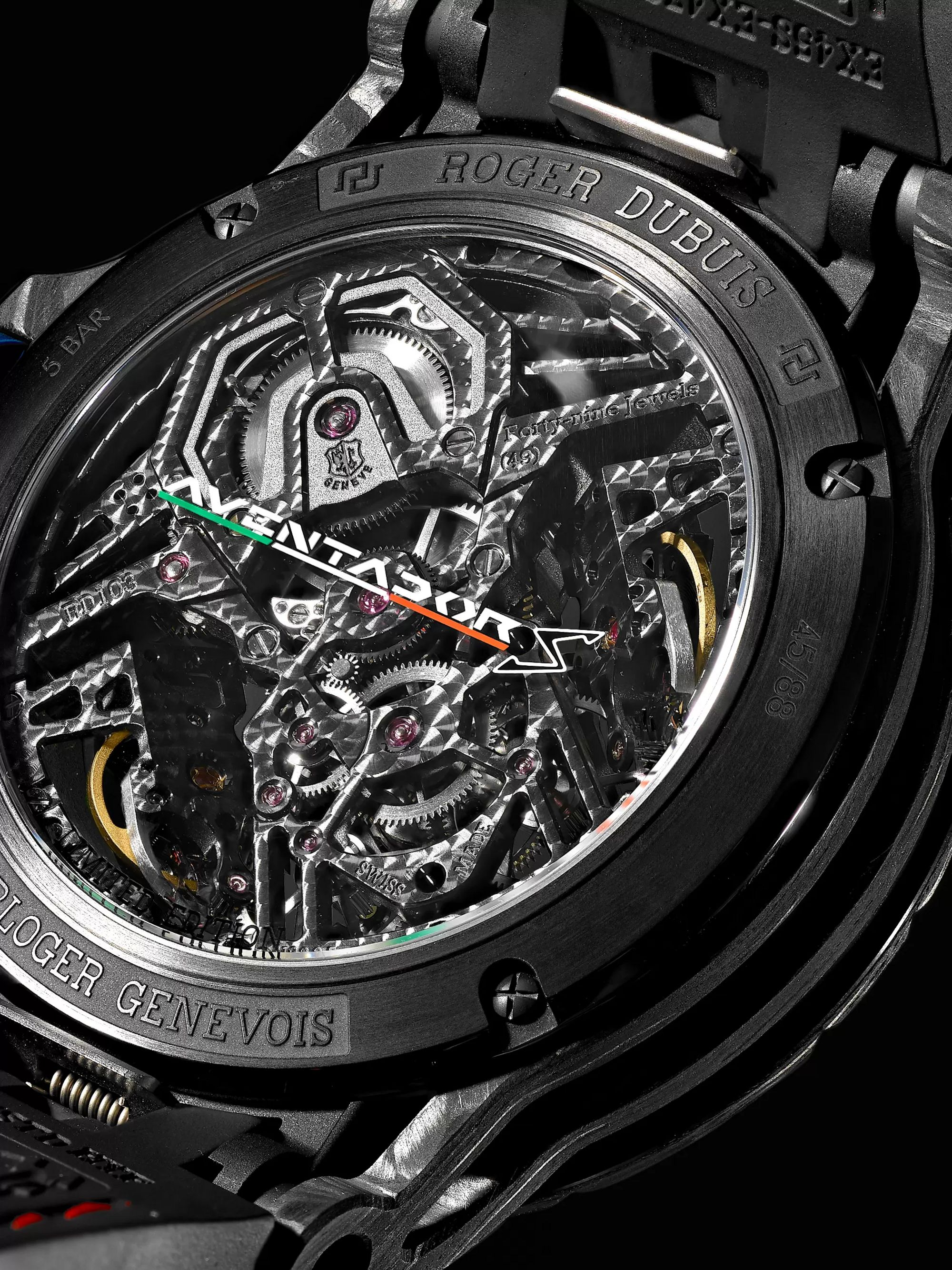 Roger Dubuis Excalibur Aventador S Limited Edition Skeleton 45mm Carbon, Rubber and Alcantara Watch, Ref. No. RDDBEX0686