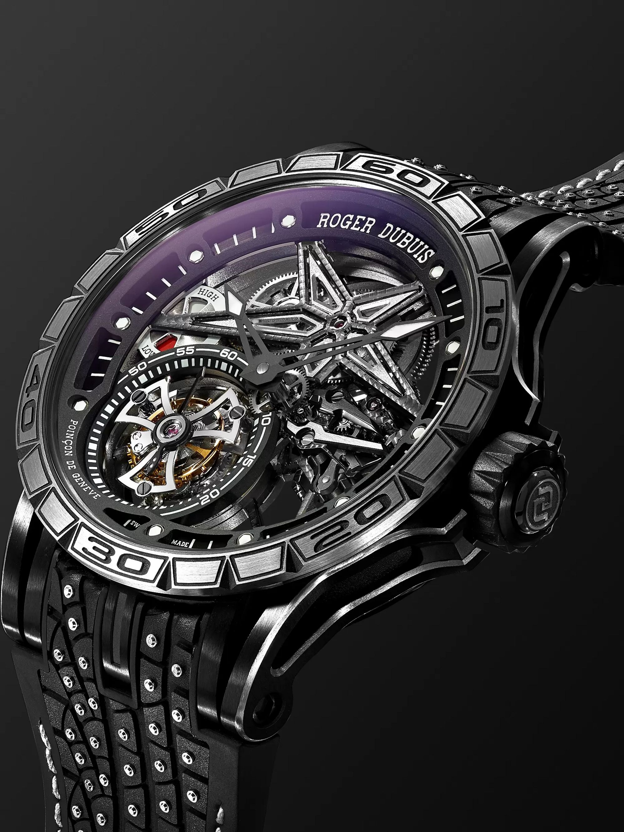 Roger Dubuis Excalibur Sottozero Pirelli Limited Edition Automatic Skeleton 45mm Titanium and Rubber Watch, Ref. No. RDDBEX0753