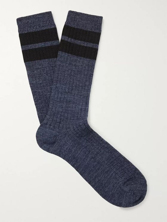 Entireworld Striped Ribbed Recycled Cotton-Blend Socks